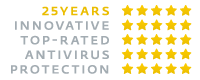 ESET :: 25 Years Innovative Top-Rated Antivirus Protection - badge